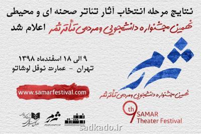 اعلام نتایج انتخاب آثار تئاتر صحنه ای و محیطی جشنواره تئاتر ثمر Image